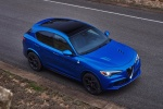 2018 Alfa Romeo Stelvio Quadrifoglio AWD in Montecarlo Blue Metallic - Static Front Right Three-quarter Top View