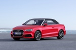 2017 Audi A3 2.0T quattro S-Line Convertible with top closed in Tango Red Metallic - Static Front Left Three-quarter View
