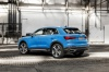 2020 Audi Q3 45 quattro in Turbo Blue from a rear left three-quarter view