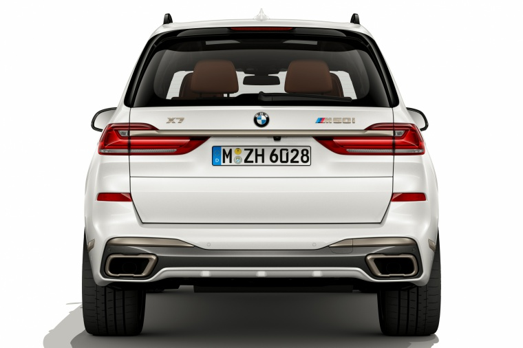 2019 BMW X7 M50i AWD in Alpine White from a rear view