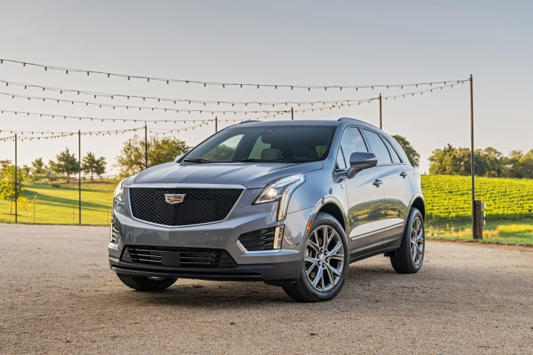 2020 Cadillac XT5 Sport AWD in Satin Steel Metallic from a front left view