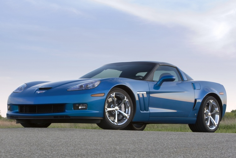 2010 Chevrolet Corvette Grand Sport Coupe in Jetstream Blue Metallic Tintcoat from a front left three-quarter view