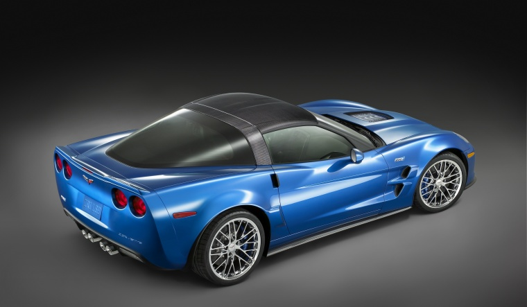 2010 Chevrolet Corvette ZR1 in Jetstream Blue Metallic Tintcoat from a rear right three-quarter top view