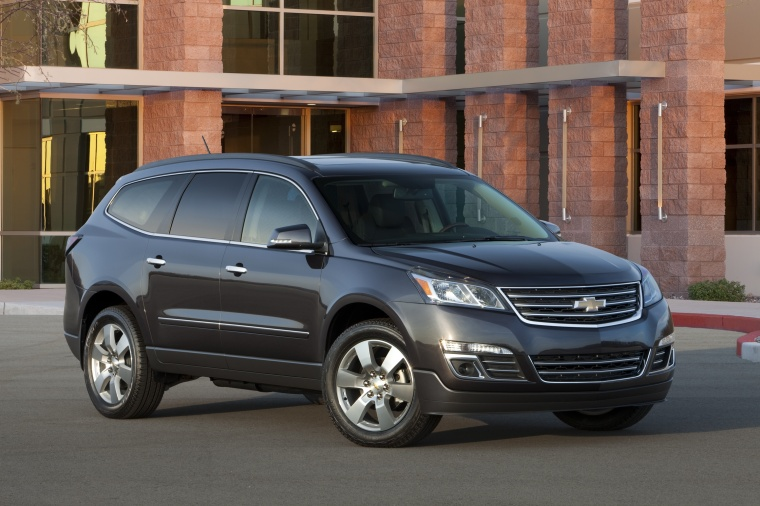 2013 Chevrolet Traverse LTZ AWD in Black Granite Metallic from a front right three-quarter view