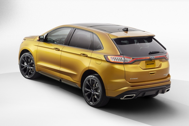 2016 Ford Edge Sport in Electric Spice Metallic from a rear left three-quarter view