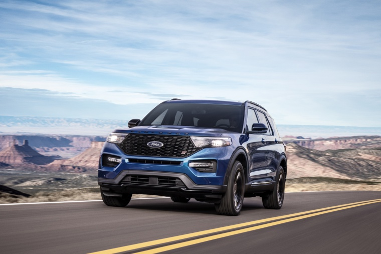 Driving 2020 Ford Explorer ST EcoBoost 4WD in Atlas Blue Metallic from a front left view