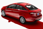 2014 Ford Fiesta Sedan Titanium in Race Red - Static Rear Left Three-quarter View