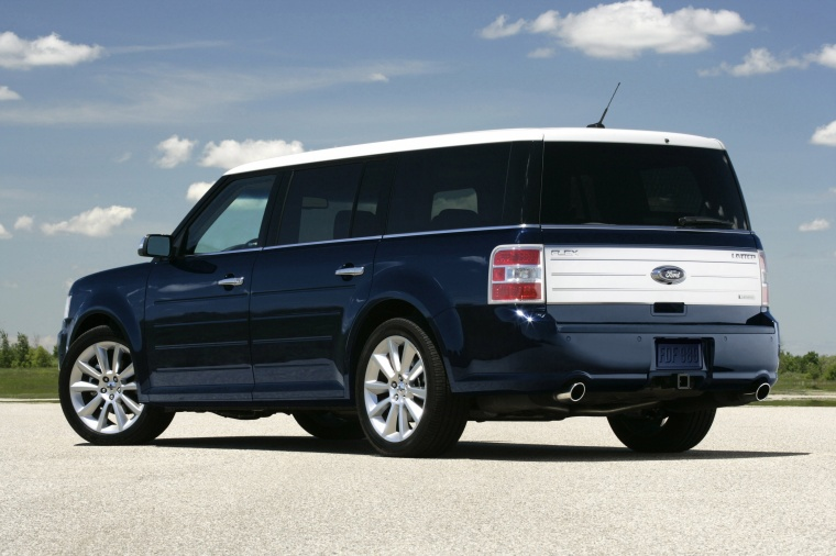 2011 Ford Flex EcoBoost in Dark Ink Blue Metallic from a rear left three-quarter view