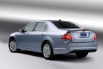 2011 Ford Fusion Hybrid in Light Ice Blue Metallic - Static Rear Left Three-quarter View