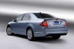 2012 Ford Fusion Hybrid in Light Ice Blue Metallic - Static Rear Left View