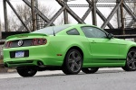 2013 Ford Mustang GT Coupe in Gotta Have It Green Metallic Tri-Coat - Static Rear Right Three-quarter View