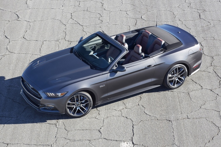 2016 Ford Mustang GT Convertible in Magnetic Metallic from a side top view