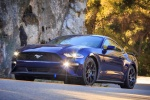 2018 Ford Mustang EcoBoost in Kona Blue Metallic - Driving Front Left Three-quarter View