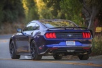 2018 Ford Mustang EcoBoost in Kona Blue Metallic - Driving Rear Left View