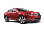 2017 Ford Taurus SHO Sedan in Ruby Red Metallic Tinted Clearcoat - Static Front Right Three-quarter View