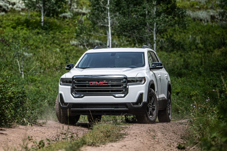 2020 GMC Acadia AT4 AWD in Summit White from a front left view