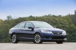 2015 Honda Accord Hybrid Sedan Touring in Obsidian Blue Pearl - Static Front Right Three-quarter View