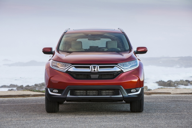 2019 Honda CR-V Touring AWD in Molten Lava Pearl from a frontal view