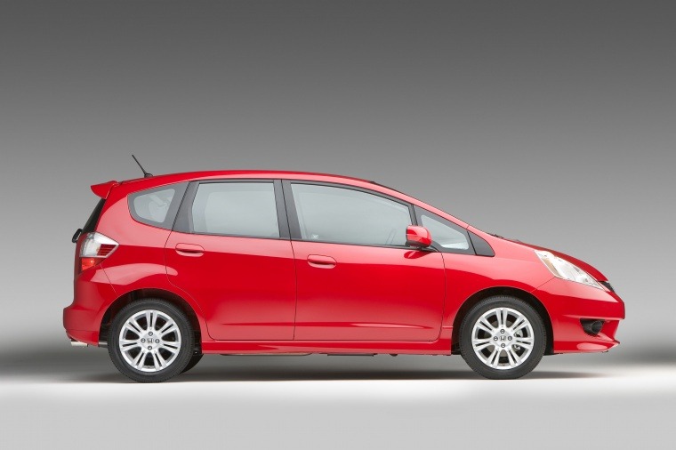 2010 Honda Fit Sport in Milano Red from a right side view