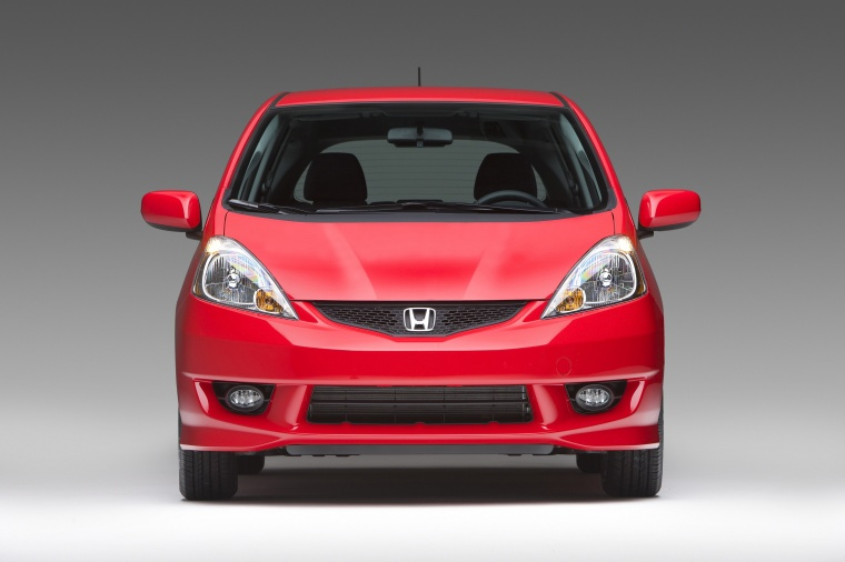 2010 Honda Fit Sport in Milano Red from a frontal view