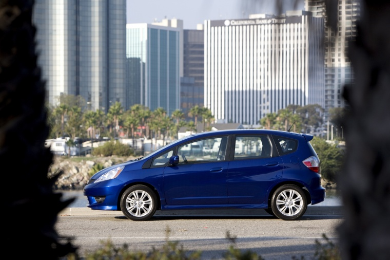 2010 Honda Fit Sport in Blue Sensation Pearl from a side view