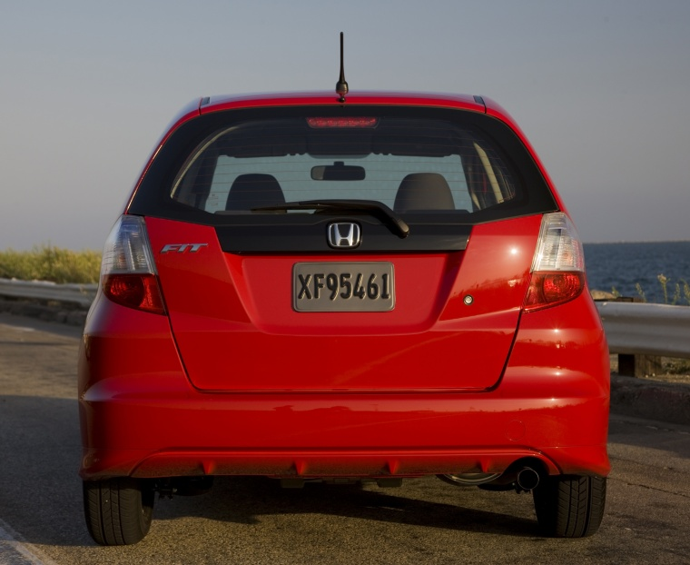 2010 Honda Fit in Milano Red from a rear view