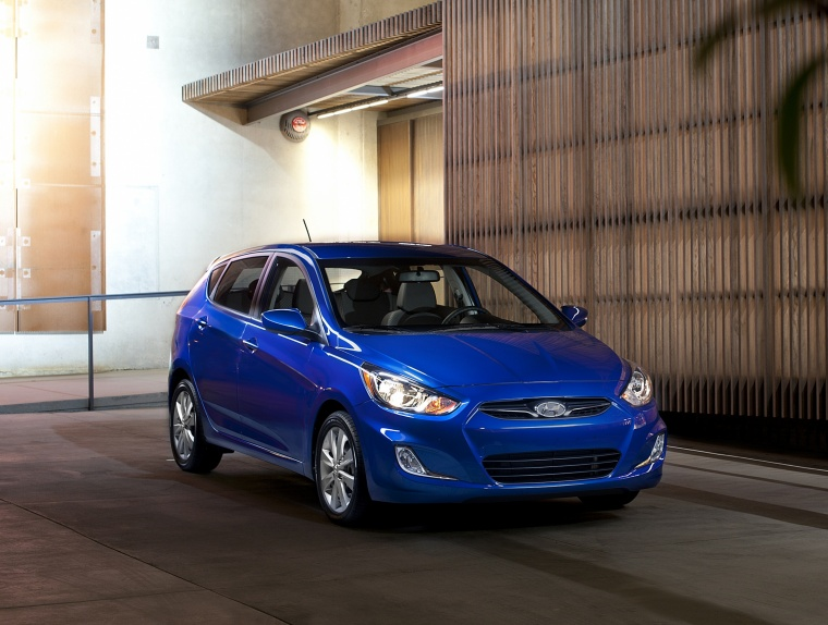 2012 Hyundai Accent Hatchback in Marathon Blue from a front right view