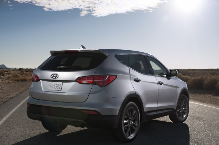 2016 Hyundai Santa Fe Sport in Sparkling Silver from a rear right view