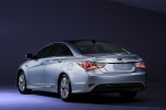 2011 Hyundai Sonata Hybrid in Blue Sky Metallic - Static Rear Left Three-quarter View