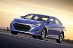 2013 Hyundai Sonata Hybrid in Blue Sky Metallic - Driving Front Left Three-quarter View