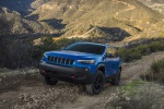 2019 Jeep Cherokee Trailhawk 4WD in Hydro Blue Pearlcoat - Driving Front Left View