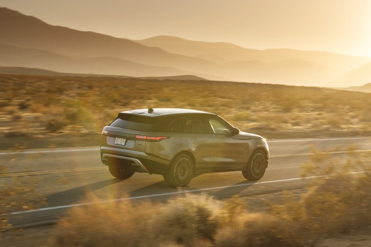 Driving 2019 Land Rover Range Rover Velar P380 HSE R-Dynamic in Silicon Silver Premium Metallic from a rear right three-quarter view