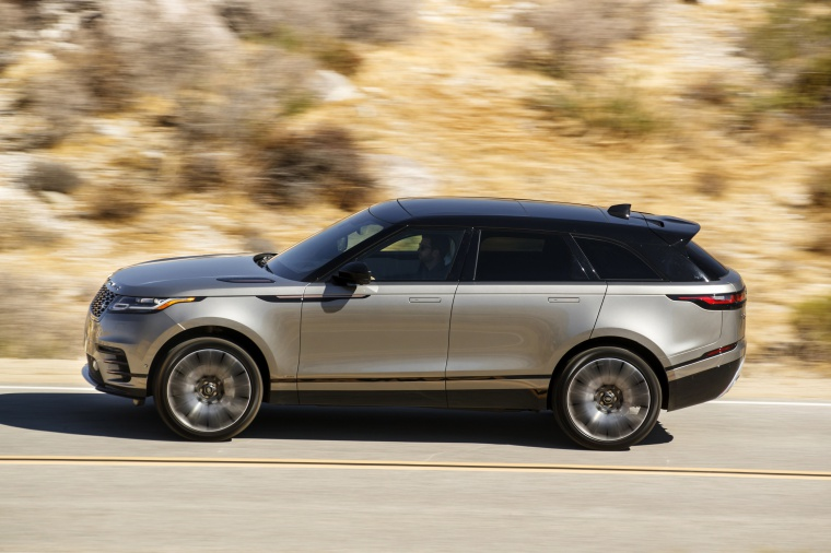 Driving 2020 Land Rover Range Rover Velar P380 R-Dynamic HSE in Silver from a left side view