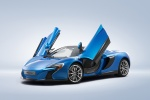 2015 McLaren 650S Spider with doors open in Blue - Static Front Left Three-quarter View