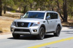 2019 Nissan Armada Platinum in Brilliant Silver - Driving Front Left View