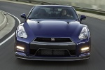2014 Nissan GT-R Coupe in Deep Blue Pearl - Driving Frontal View