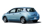2011 Nissan Leaf in Blue Ocean - Static Rear Left Three-quarter View