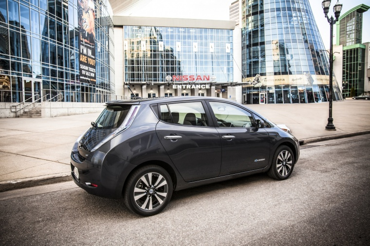 2013 Nissan Leaf in Metallic Slate from a rear right three-quarter view