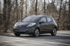 Driving 2013 Nissan Leaf in Metallic Slate from a front left view