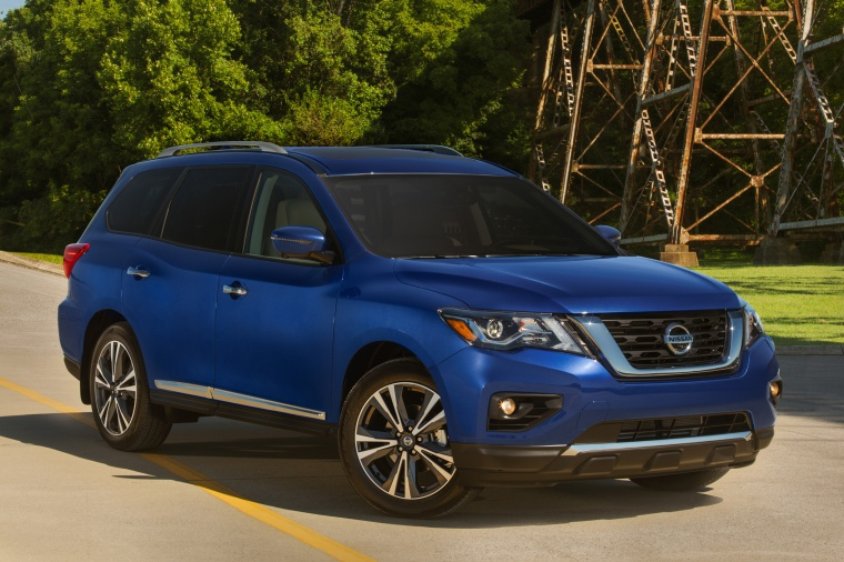2019 Nissan Pathfinder Platinum 4WD in Caspian Blue Metallic from a front right three-quarter view