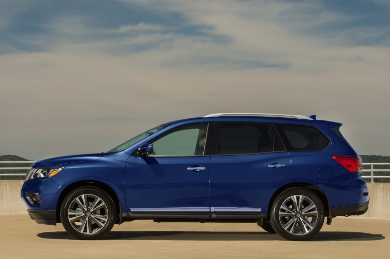 2019 Nissan Pathfinder Platinum 4WD in Caspian Blue Metallic from a left side view