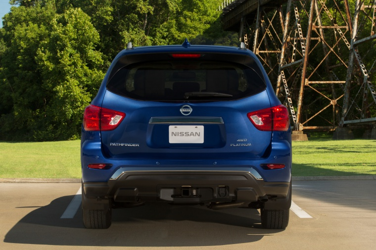 2020 Nissan Pathfinder Platinum 4WD in Caspian Blue Metallic from a rear view