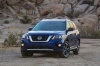 2020 Nissan Pathfinder Platinum 4WD in Caspian Blue Metallic from a front left view