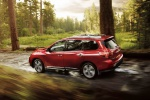 2020 Nissan Pathfinder Platinum 4WD in Scarlet Ember Tintcoat - Driving Rear Left Three-quarter View