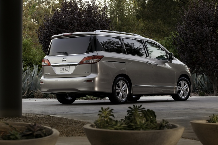 2011 Nissan Quest in Brilliant Silver from a rear right three-quarter view