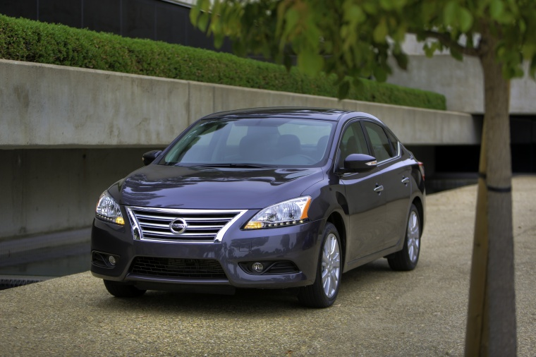 2013 Nissan Sentra SL in Amethyst Gray from a front left view