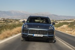 2019 Porsche Cayenne S AWD in Biscay Blue Metallic - Driving Frontal View