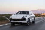 2019 Porsche Cayenne Turbo AWD in White - Driving Front Left View