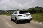 2019 Porsche Cayenne e-Hybrid AWD in White - Driving Rear Left View