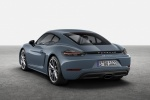 2018 Porsche 718 Cayman in Graphite Blue Metallic - Static Rear Left View